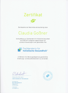 Zertifikat der Agentur der Naturheilkunde